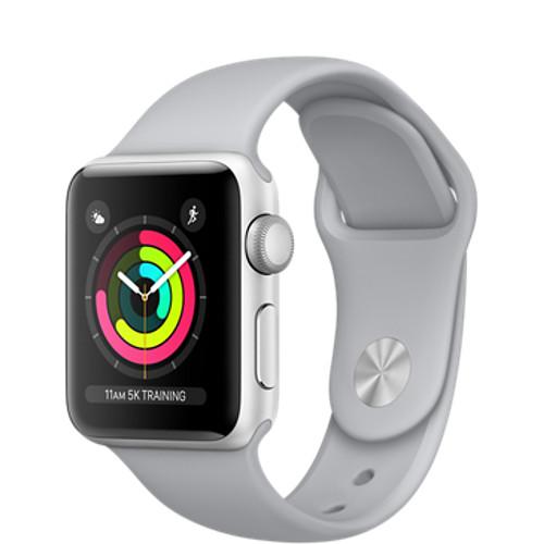 Умные часы Apple Watch Series 3 38мм, серебристый алюминий, спортивный ремешок дымчатого цветаУмные часы<br>Apple Watch S3 38mm Silver Aluminum Case, Fog Sport Band<br><br>Цвет товара: Серый<br>Материал: Алюминий, фторэластомер, задняя панель из композитного материала, стекло Ion-X повышенной прочности<br>Цвета корпуса: серебристый<br>Модификация: 38 мм