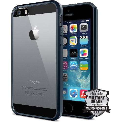 Чехол Spigen Ultra Hybrid для iPhone SE/5S/5 синий металлик (SGP10711)Чехлы для iPhone 5s/SE<br>Чехол Spigen Ultra Hybrid для iPhone SE темно-синий (ECO Package) (SGP10711)<br><br>Цвет товара: Синий<br>Материал: Пластик
