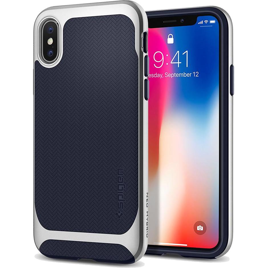 Чехол Spigen Case Neo Hybrid для iPhone X серебристый (057CS22167)Чехлы для iPhone X<br>Spigen Neo Hybrid — стильный и прочный чехол для мощного смартфона Apple iPhone X с текстурой «ёлочка».<br><br>Цвет товара: Серебристый<br>Материал: Термопластичный полиуретан, поликарбонат