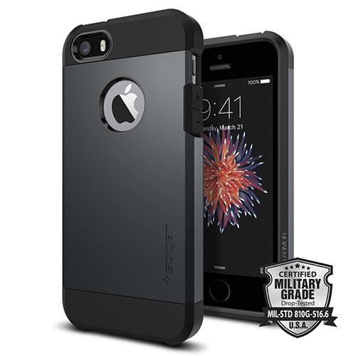 Чехол Spigen Tough Armor для iPhone SE (SGP-041CS20187)Чехлы для iPhone 5s/SE<br>Чехол Spigen Tough Armor для iPhone SE (SGP-041CS20187)<br><br>Цвет товара: Серый<br>Материал: Поликарбонат, полиуретан