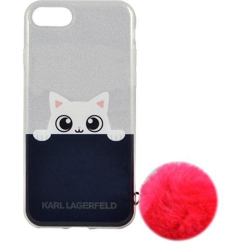 Чехол Karl Lagerfeld K-Peek A Boo Hard TPU для iPhone 7 (Айфон 7) прозрачный/тёмно-синий