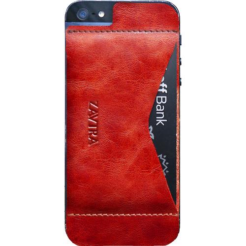 Чехол-кошелёк ZAVTRA для iPhone 5/5s/SE красныйЧехлы для iPhone 5s/SE<br>Элегантность и минимализм<br><br>Цвет товара: Красный<br>Материал: Натуральная кожа, пластик