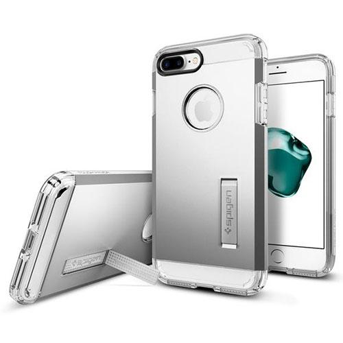 Чехол Spigen Tough Armor для iPhone 7 и 8 Plus серебристый (043CS20681)Чехлы для iPhone 7 Plus<br>Обеспокоены безопасностью вашего iPhone 7 Plus? С бестселлером от Spigen — чехлом Tough Armor — вам больше никогда не придётся об этом волноваться!<br><br>Цвет: Серебристый<br>Материал: Поликарбонат, полиуретан