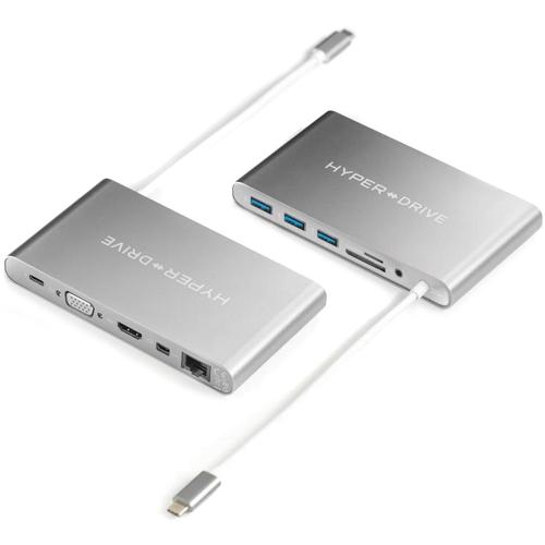 USB-хаб HyperDrive Ultimate USB-C Hub (11 Ports) серый космосХабы - разветвители USB<br>Хаб HyperDrive Ultimate USB-C Hub удобен в использовании, компактен и невероятно универсален.<br><br>Цвет товара: Серый космос<br>Материал: Алюминий