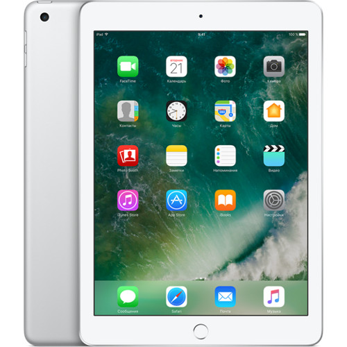 Apple iPad (2017) Wi-Fi+Cellular 128 GB серебристыйiPad 9.7 (2017)<br>Легко поддержит ваши увлечения.<br><br>Цвет товара: Серебристый<br>Материал: Металл, пластик<br>Модификация: 128 Гб