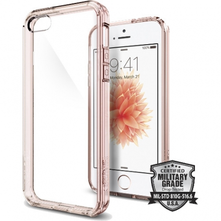 Чехол Spigen Ultra Hybrid для iPhone 5/5S/SE розовое золото (SGP-041CS20172)Чехлы для iPhone 5/5S/SE<br>Чехол Spigen Ultra Hybrid для iPhone SE прозрачно-розовый (SGP-041CS20172)<br><br>Цвет товара: Розовый<br>Материал: Пластик, резина