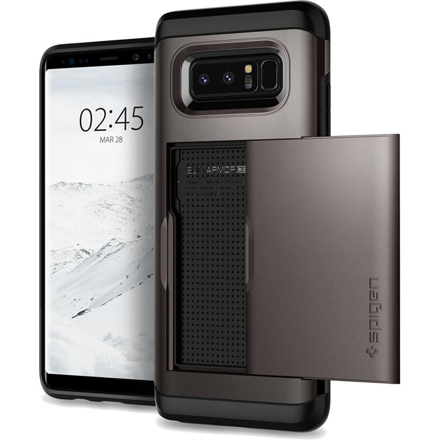 Чехол Spigen Slim Armor CS для Samsung Galaxy Note 8 стальной (587CS22071)Чехлы для Samsung Galaxy Note<br>Spigen Slim Armor CS — это два прочнейших слоя защиты от повреждений для вашего смартфона, плюс отделение для ваших кредитных карт или визиток.<br><br>Цвет товара: Серый<br>Материал: Термопластичный полиуретан, поликарбонат