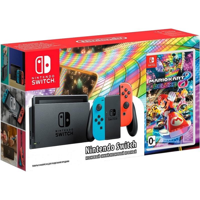 Комплект Nintendo Switch неоновая красная/неоновая синяя + игра Mario Kart 8 Deluxe