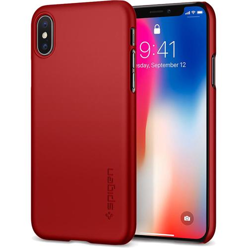 Чехол Spigen Thin Fit для iPhone X красный (057CS22109)Чехлы для iPhone X<br>Spigen Thin Fit — это чехол с лёгким и свежим дизайном, который создан специально для iPhone X!<br><br>Цвет товара: Красный<br>Материал: Поликарбонат