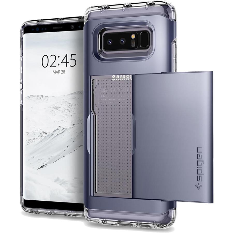 Чехол Spigen Crystal Wallet для Samsung Galaxy Note 8 серый Orchid Gray (587CS21848)Чехлы для Samsung Galaxy Note<br>Spigen Crystal Wallet — это два прочнейших слоя защиты от повреждений для вашего смартфона, плюс отделение для ваших кредитных карт или визиток.<br><br>Цвет товара: Серый<br>Материал: Термопластичный полиуретан, поликарбонат