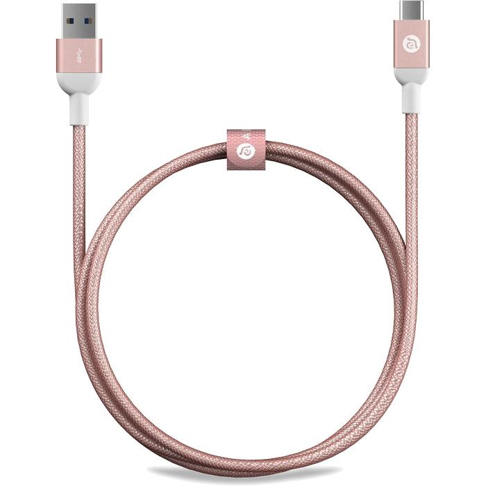 Кабель ADAM elements CASA M100 USB Type-C to USB (1 метр) розовое золотоКабели Type-C и другие<br>Многослойное экранирование кабеля ADAM elements CASA M100 способствует минимизации искажений, электромагнитных или радиочастотных помех.<br><br>Цвет товара: Розовое золото<br>Материал: Алюминий, пластик, нейлон