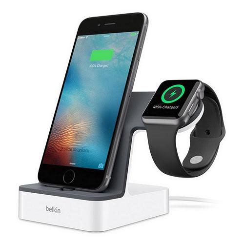 Док-станция Belkin PowerHouse Charge Dock для Apple Watch + iPhone белаяДокстанции Apple Watch<br>Belkin PowerHouse Charge Dock - док-станция для одновременной зарядки Apple Watch и iPhone.<br><br>Цвет товара: Белый<br>Материал: Пластик, металл