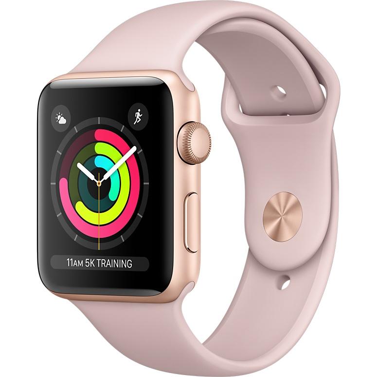 Умные часы Apple Watch Series 3 42мм, золотистый алюминий, спортивный ремешок цвета «розовый песок»Умные часы<br>Apple Watch S3 42mm Gold Aluminum Case, Pink Sand Sport Band<br><br>Материал: Алюминий, фторэластомер, задняя панель из композитного материала, стекло Ion-X повышенной прочности<br>Цвета корпуса: золотой<br>Модификация: 42 мм