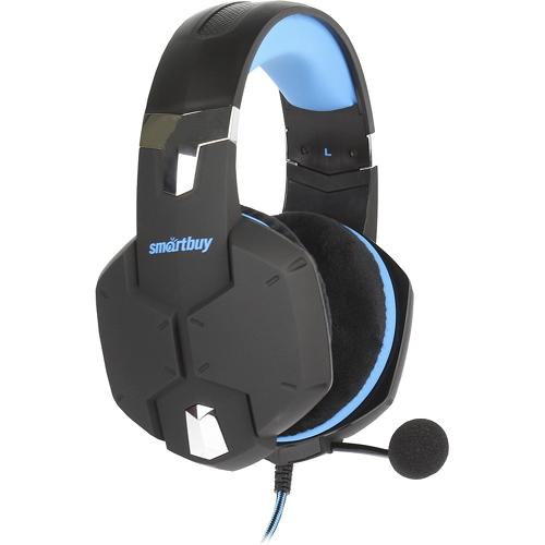 Игровая гарнитура Smartbuy Rush Viper чёрный/синий (SBHG-2000)Полноразмерные наушники<br>Игровая гарнитура Smartbuy Rush Viper чёрный/синий (SBHG-2000)<br><br>Цвет товара: Синий<br>Материал: Пластик, металл, велюр