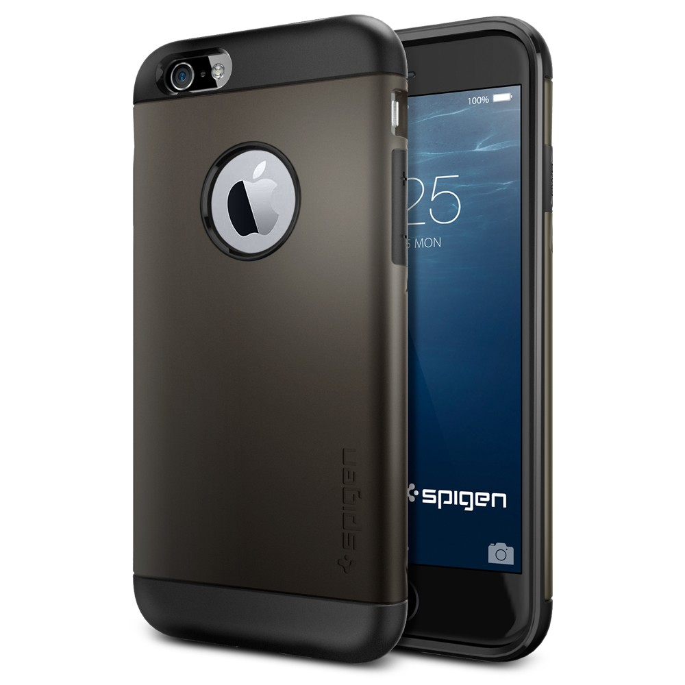 Чехол Spigen Slim Armor для iPhone 6 (4,7) темный металлик SGP10959Чехлы для iPhone 6/6s<br>Spigen является лидером в производстве невероятно удобных и практичных чехлов для многих моделей современных смартфонов. Вот и для нового iPhon...<br><br>Цвет товара: Серый<br>Материал: Поликарбонат, полиуретан