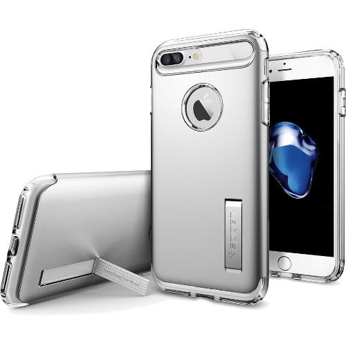 Чехол Spigen Slim Armor для iPhone 7 Plus серебристый (SGP-043CS20313)Чехлы для iPhone 7/7 Plus<br>Spigen Slim Armor — это тончайшая двухслойная защита для вашего Айфон.<br><br>Цвет товара: Серебристый<br>Материал: Поликарбонат, полиуретан