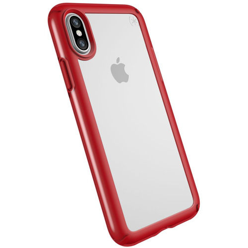Чехол Speck Presidio Show для iPhone X прозрачный/красный