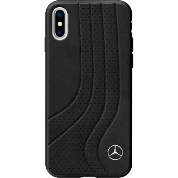 Чехол Mercedes New Bow II Hard Leather для iPhone X чёрныйЧехлы для iPhone X<br>Две фактуры кожи, декоративная строчка, плавные линии — этот премиум чехол столь же элегантный, как и сами автомобили, духом которых он «пропитан».<br><br>Цвет товара: Чёрный<br>Материал: Натуральная кожа, поликарбонат, силикон