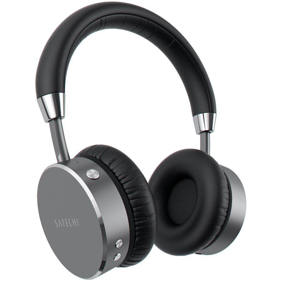 Наушники Satechi Aluminum Wireless Headphones серый космос (ST-AHPM)Накладные наушники<br>Наушники Satechi Aluminum Wireless Headphones сочетают в себе все преимущества беспроводных и проводных наушников премиум класса.<br><br>Цвет товара: Серый космос<br>Материал: Алюминий, пластик, эко-кожа