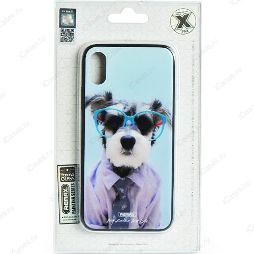 Чехол Remax Painting Series для iPhone X (Пёс в голубых очках)Чехлы для iPhone X<br>Оригинальный чехол Remax, без сомнения, является превосходной комбинацией стиля и надежности!<br><br>Цвет: Разноцветный<br>Материал: Пластик