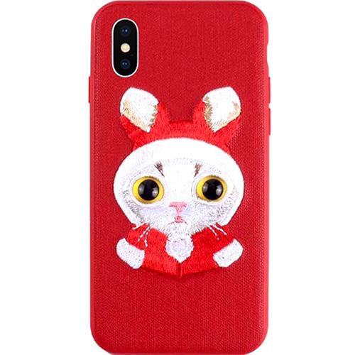 Чехол Mutural Design Lovely Pet для iPhone X красныйЧехлы для iPhone X<br>Чехол Mutural Desgn для iPhone X - красный<br><br>Цвет: Красный<br>Материал: Пластик, текстиль, силикон