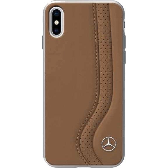 Чехол Mercedes New Bow I Hard Leather для iPhone X коричневый CamelЧехлы для iPhone X<br><br><br>Цвет товара: Коричневый<br>Материал: Натуральная кожа, поликарбонат, силикон