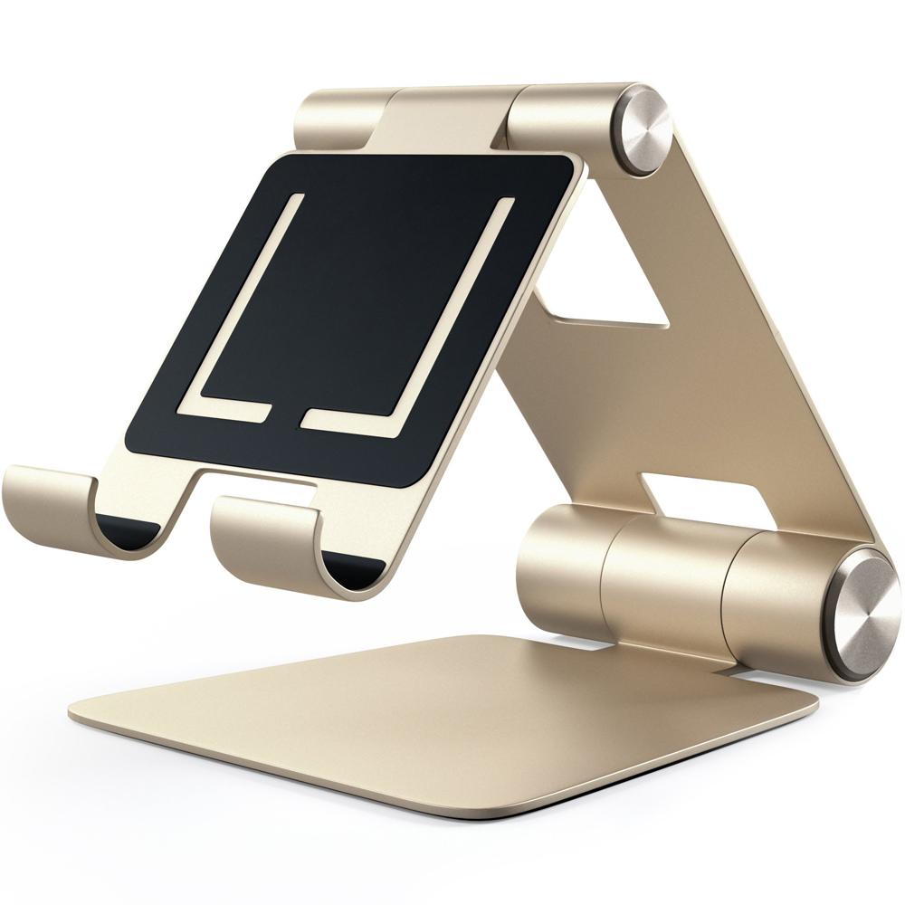 Подставка Satechi R1 Aluminum Hinge Holder Foldable Stand для iPad золотая (ST-R1G)Докстанции/подставки<br>Универсальная и очень удобная подставка!<br><br>Цвет товара: Золотой<br>Материал: Алюминий