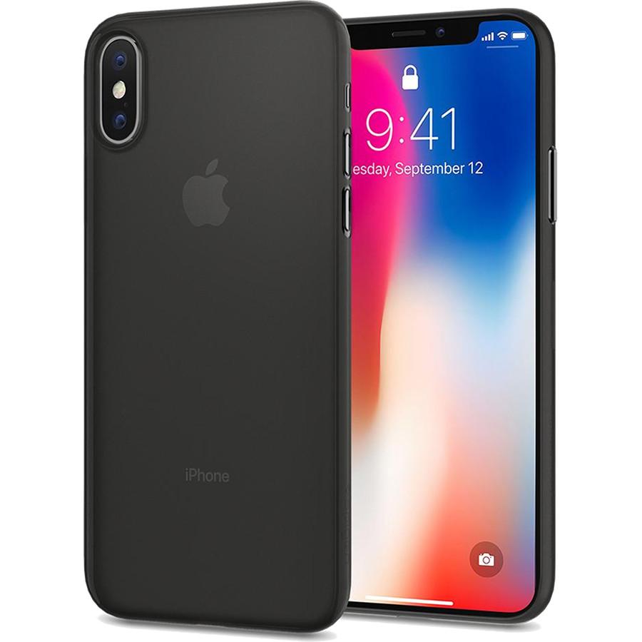 Чехол Spigen Case Air Skin для iPhone X чёрный (057CS22114)Чехлы для iPhone X<br>Это чехол для тех, кто предпочитает классику и минимализм.<br><br>Цвет товара: Чёрный<br>Материал: Поликарбонат