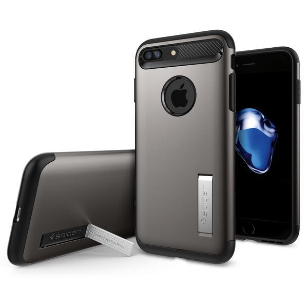 Чехол Spigen Slim Armor для iPhone 7 Plus стальной (SGP-043CS20309)Чехлы для iPhone 7 Plus<br>Spigen Slim Armor — это тончайшая двухслойная защита для вашего Айфон.<br><br>Цвет товара: Серый<br>Материал: Поликарбонат, полиуретан