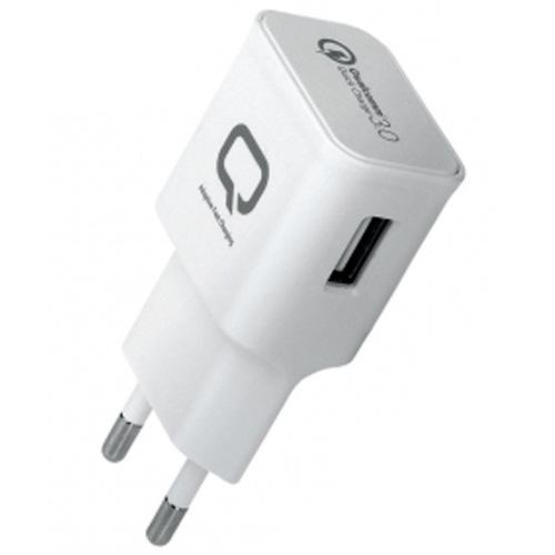 Сетевое зарядное устройство QUMO Energy QC 3.0 белоеСетевые зарядки<br>Сетевое зарядное устройство QUMO Quick charge 3.0 - белое<br><br>Цвет товара: Белый<br>Материал: Пластик