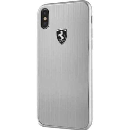 Чехол Ferrari Heritage Aluminium Hard для iPhone X серебристыйЧехлы для iPhone X<br>Ferrari Heritage словно превращает ваш iPhone X в гоночный автомобиль.<br><br>Цвет: Серебристый<br>Материал: Алюминий, силикон