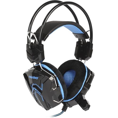 Игровая гарнитура Smartbuy Rush Cobra чёрный/синий (SBHG-1000)Полноразмерные наушники<br>Игровая гарнитура Smartbuy Rush Cobra чёрный/синий (SBHG-1000)<br><br>Цвет товара: Синий<br>Материал: Пластик, металл, велюр