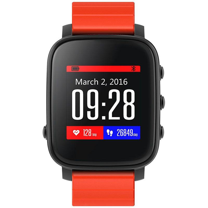 Умные часы SMA Time чёрные с красным ремешкомУмные часы<br>SMA Time смарт-часы - черный/красный<br><br>Цвет товара: Чёрный<br>Материал: Алюминий