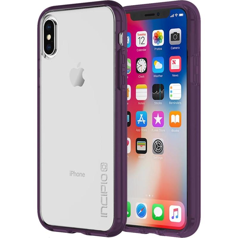 Чехол Incipio Octane Pure для iPhone X фиолетовыйЧехлы для iPhone X<br>Двухслойный чехол состоит из поликарбонатной, жёсткой накладки Plextonium™ и гибкого, абсорбирующего бампера Flex2O™.<br><br>Цвет: Фиолетовый<br>Материал: Поликарбонат, термопластичный полиуретан