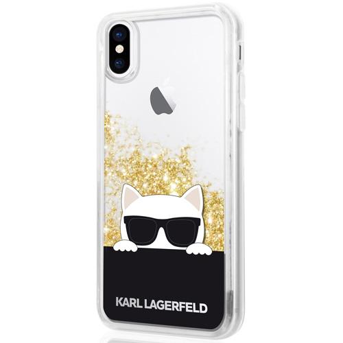 Чехол Karl Lagerfeld Liquid Glitter Choupette with Sunglasses для iPhone X прозрачный/золотистыйЧехлы для iPhone X<br>Чехол Karl Lagerfeld Liquid Glitter — это больше чем чехол, это настоящее украшение!<br><br>Цвет товара: Золотой<br>Материал: Термопластичный полиуретан