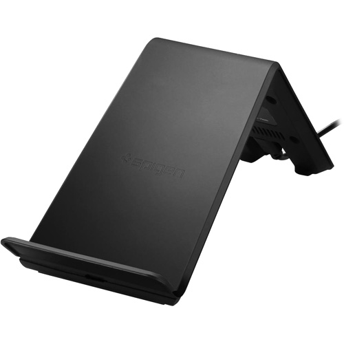 Беспроводное зарядное устройство Spigen Essential F303W (9W) (000CH21378)Сетевые зарядки<br>F303W — зарядная подставка с технологией Qi от Spigen, благодаря которой вы сможете быстро и надёжно заражать устройства с поддержкой технологии...<br><br>Цвет товара: Чёрный<br>Материал: Пластик, резина