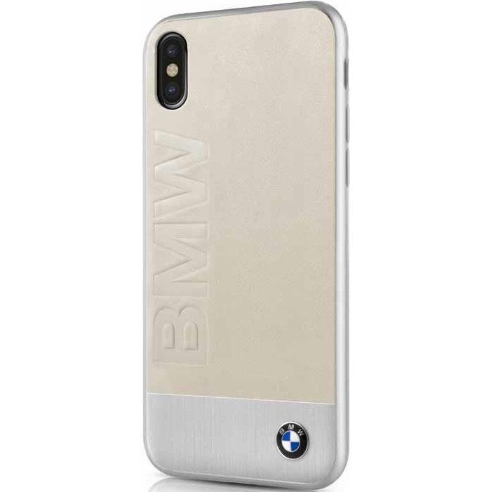 Чехол BMW Signature Bi-material Leather &amp; Aluminum для iPhone X бежевый/серебристыйЧехлы для iPhone X<br>Чехол имеет непринуждённый дизайн, который будет уместен в любой обстановке.<br><br>Цвет товара: Бежевый<br>Материал: Натуральная кожа, алюминий, поликарбонат, микрофибра