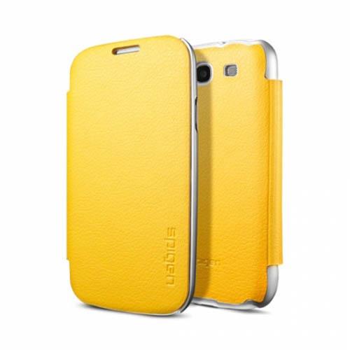 Чехол Spigen Ultra Flip для Samsung S3 жёлтыйЧехлы для Samsung Galaxy<br>Spigen Ultra Flip представляет собой кейс с тонким и легким корпусом.<br><br>Цвет товара: Жёлтый<br>Материал: Поликарбонат, эко-кожа