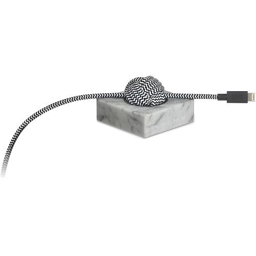 Кабель Native Union NIGHT Lightning-USB Cable Marble Edition (3 м) с белой мраморной подставкойКабели Lightning<br>Уникальный кабель Native Union NIGHT с роскошной мраморной подставкой.<br><br>Цвет: Белый<br>Материал: Мрамор, нейлон