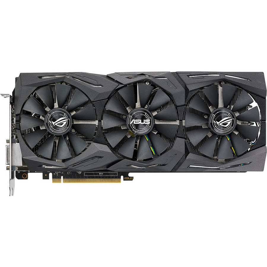 Видеокарта Asus GeForce GTX 1080, GDDR5X 8 ГБ, 11 Гбит/с (ROG-STRIX-GTX1080-A8G-11GBPS)Комплектующие для ПК<br>Разработана специально для геймеров!<br><br>Цвет товара: Чёрный<br>Материал: Металл, пластик<br>Модификация: 8 Гб