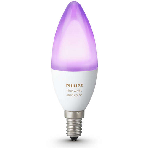 Умная лампа Philips Hue White and Color Ambiance E14 (1 штука)Умные лампы<br>Светодиодная лампа Hue White Ambiance E14 от Philips для неповторимой атмосферы в вашем доме!<br><br>Цвет: Белый<br>Материал: Металл, керамика