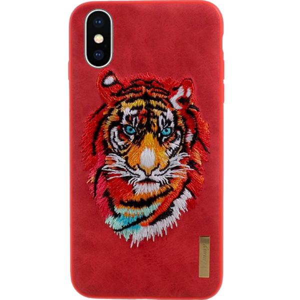 Чехол Nimmy Animal Denim для iPhone X (Тигр) красныйЧехлы для iPhone X<br>Оригинальный и надёжный чехол Nimmy Animal Denim притягивает взгляд окружающих с первой секунды.<br><br>Цвет: Красный<br>Материал: Пластик, силикон, текстиль