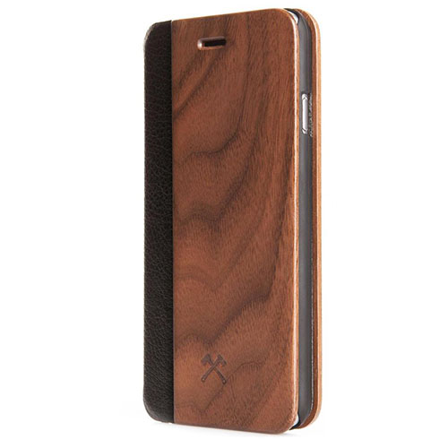 Чехол Woodcessories EcoFlip Business для iPhone 7 Plus (Айфон 7 Плюс) кожа + орех