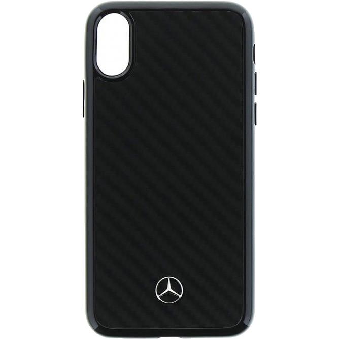 Чехол Mercedes Dynamic Real Carbon Hard для iPhone X чёрныйЧехлы для iPhone X<br>Прочный и лёгкий чехол, не только выглядит очень эффектно, он способен уберечь от потертостей, царапин и сколов корпус iPhone X.<br><br>Цвет товара: Чёрный<br>Материал: Карбоновое волокно, поликарбонат, силикон