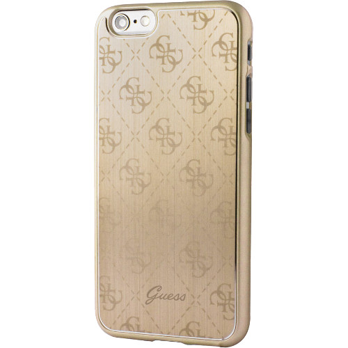 Чехол Guess 4G Aluminium Plate Hard для iPhone 7 (Айфон 7) золотойЧехлы для iPhone 7<br>Чехол Guess для iPhone 7 4G Aluminium plate Hard Gold<br><br>Цвет товара: Золотой<br>Материал: Поликарбонат, алюминий