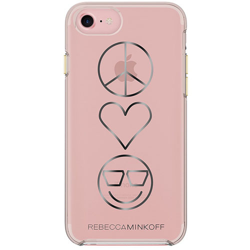 Чехол Rebecca Minkoff Double Up Protection Case для iPhone 7 Peace, Love, Happiness Clear/Transparent Rose Gold