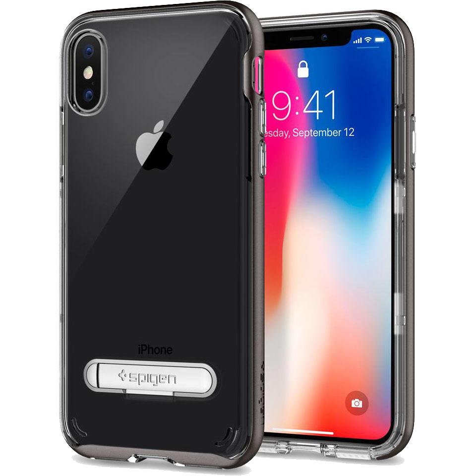 Чехол Spigen Crystal Hybrid для iPhone X стальной (057CS22144)Чехлы для iPhone X<br>Сочетание прочной панели из поликарбоната и гибкого бампера из термопластичного полиуретана убережёт ваш смартфон не только от пыли и цар...<br><br>Цвет товара: Серый<br>Материал: Термопластичный полиуретан, поликарбонат