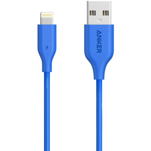 Кабель Anker PowerLine (0.9 метра) USB to Lightning (A8111H31) голубойКабели Lightning<br>Кабель Anker PowerLine выдержит более 5000 перегибов и не порвется!<br><br>Цвет товара: Голубой<br>Материал: Пластик, силикон, пара-арамидное волокно