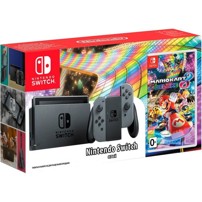 Комплект Nintendo Switch серая + игра Mario Kart 8 Deluxe