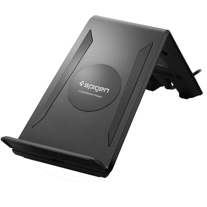 Зарядное устройство Spigen F300W Wireless Charging Pad чёрноеСетевые зарядки<br>F300W Wireless Charging Pad — зарядная подставка с технологией Qi от Spigen!<br><br>Цвет товара: Чёрный<br>Материал: Пластик